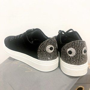 Lola Cruz Black Velvet Eye Sneaker Rhinestone Shoe